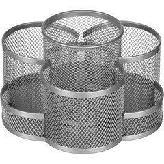 Подставка для канцелярских принадлежностей Attache (7 секций, металлическая сетка, 110x165x175 мм, серебро)