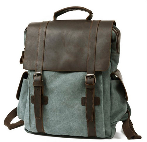 Рюкзак из кожи и ткани Bug 065 Blue