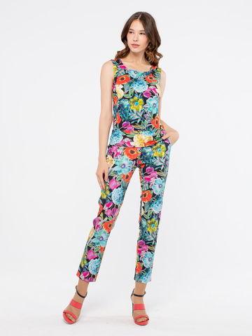 Фото хлопковые зауженные брюки с ярким цветочным принтом и средней посадкой - Брюки А428а-133 (1)
