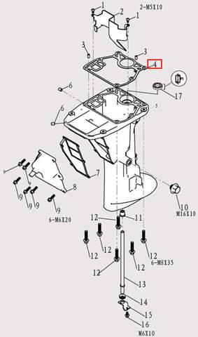 Прокладка дейдвуда для лодочного мотора F9.8 Sea-PRO (11-4)
