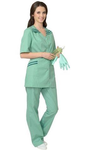 Костюм  женский: куртка, брюки Светлая мята с темно-зелёным