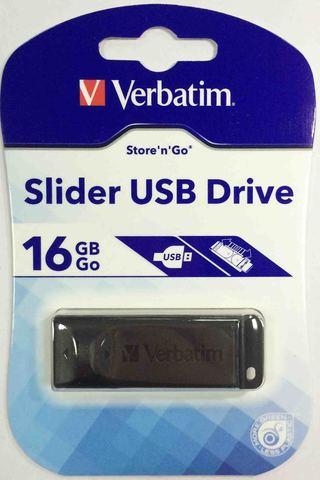 Verbatim USB 16GB Slider Black