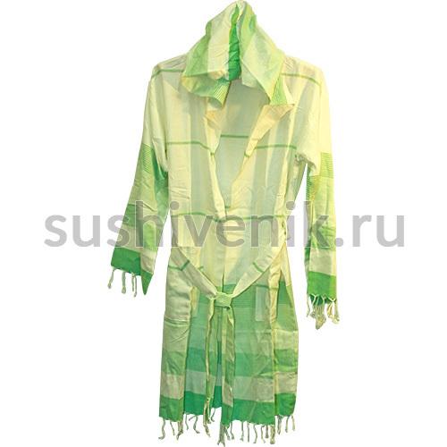 Халат турецкий легкий в зеленую полоску