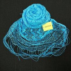 Шарф ажурный с кистями голубой 2