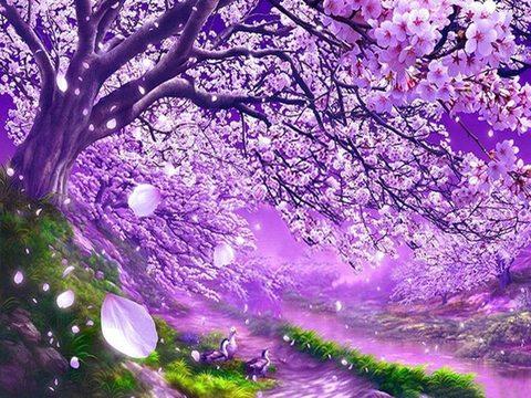 Алмазная Мозаика 30x40 Утки под фиолетовым деревом