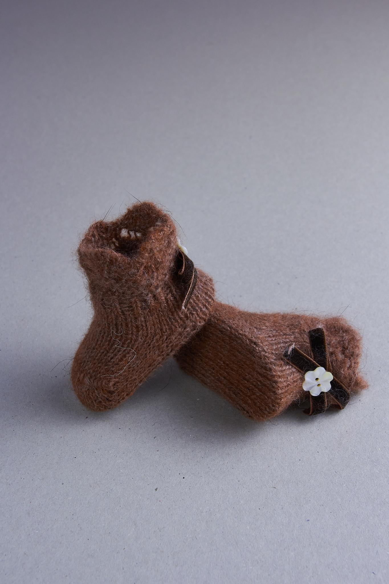 Носочки для недоношенных из шерсти