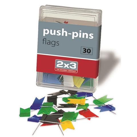 Кнопки для пробковых досок силовые флажки 2x3, ассорти 30 шт/пласт.уп. A003