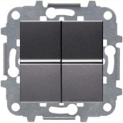 Переключатель двухклавишный. Цвет Антрацит. ABB Niessen Zenit. N2102 AN+N2102 AN+N2271.9