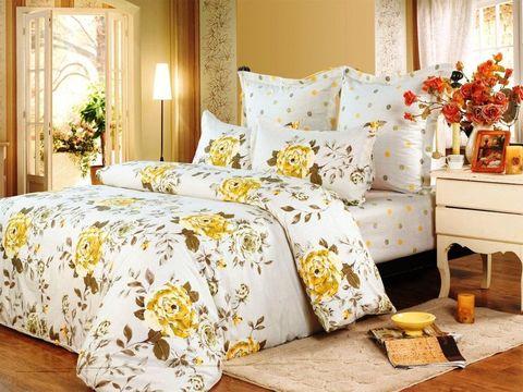 Сатиновое постельное бельё  2 спальное  В-119
