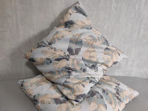 Декоративная наволочка бирюзово-бежевая. 50 х 50 см,