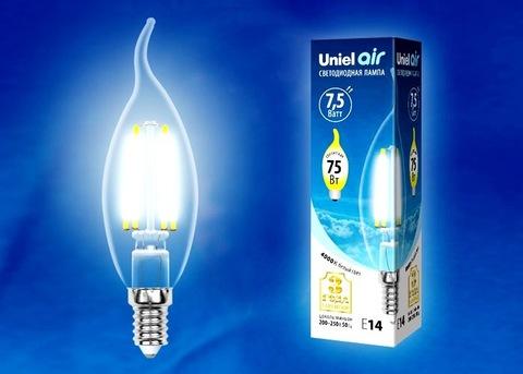 Uniel Лампа LED-CW35-7,5W/NW/E14/CL Air (свеча на ветру белый свет)