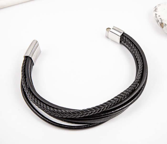 BM565-1 Браслет из плоских и плетеных кожаных шнуров фото 02