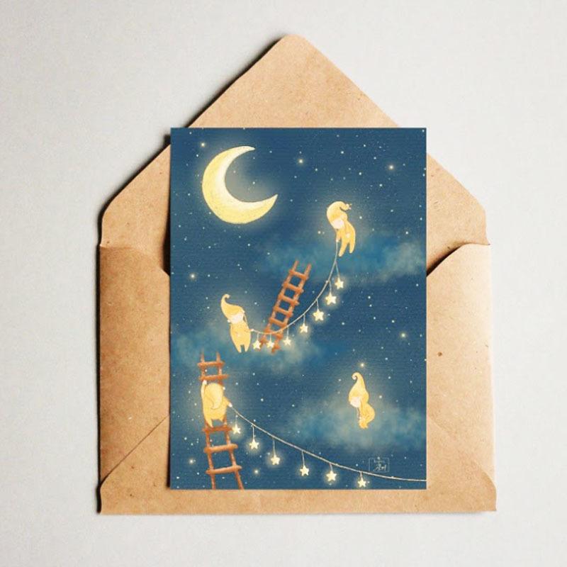 Фотография Открытка авторская почтовая «Звездные гномы» / 10*15 см купить в магазине Афлора