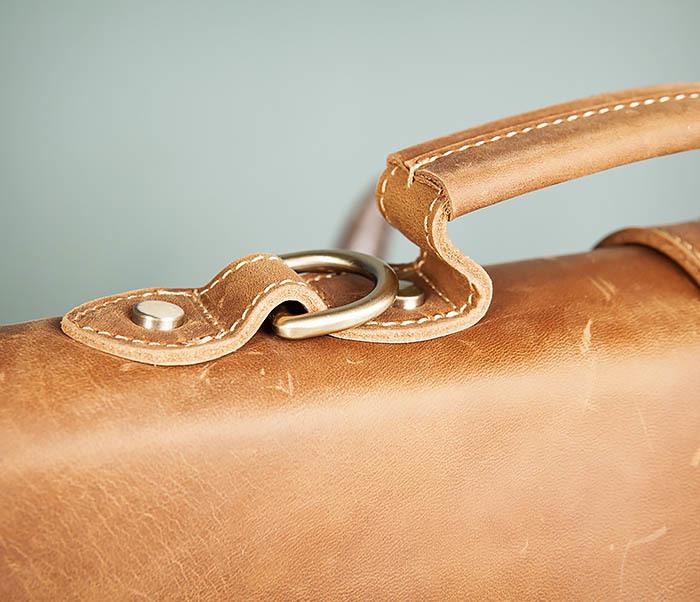 BAG493-2 Мужская сумка из натуральной кожи «Crazy Horse» c ремнем фото 04