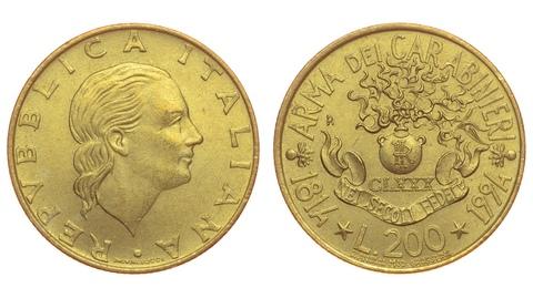 Юбилейная монета Италии 200 лир. Случайный год. AU-UNC