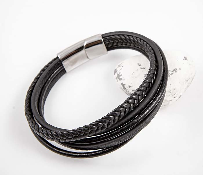 BM565-1 Браслет из плоских и плетеных кожаных шнуров фото 03
