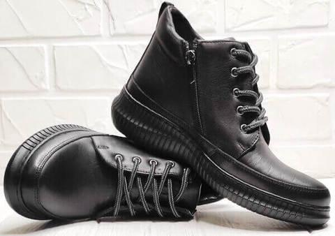 Кожаные ботинки демисезонные женские. Черные кеды термоботинки. Сникерсы ботинки на шнуровке Evromoda  S.A.Black.