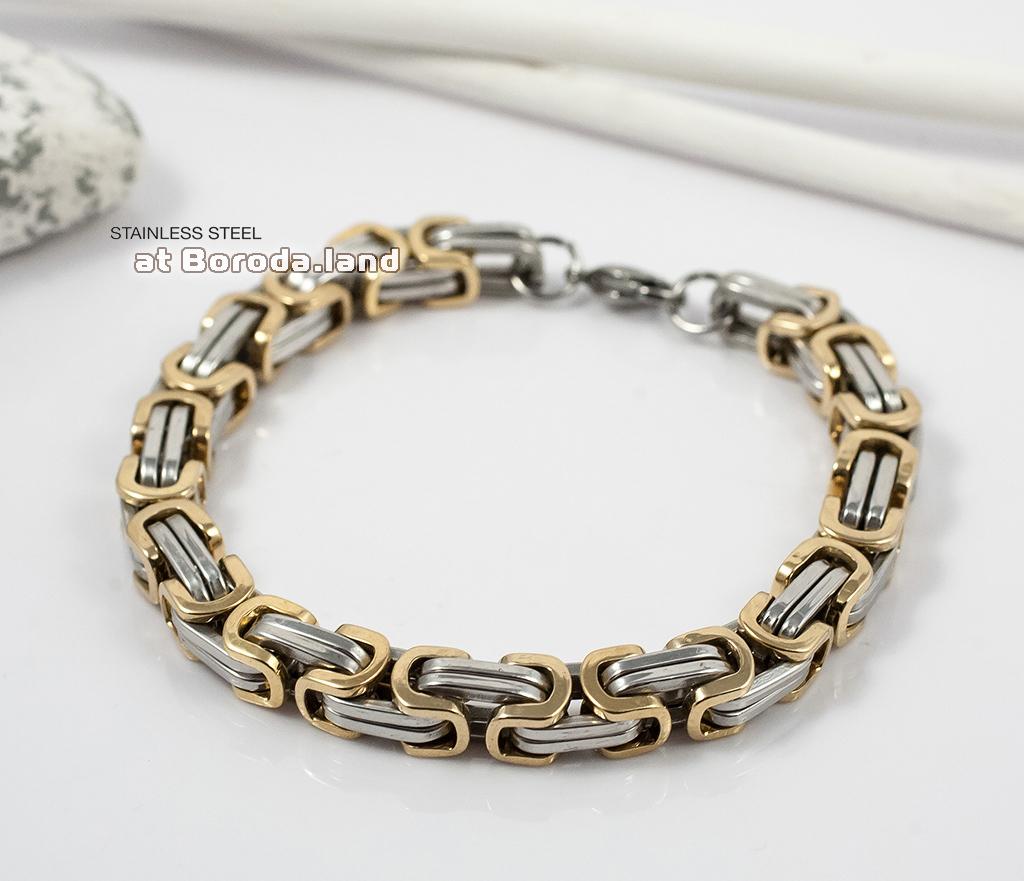 BM298 Стильный стальной браслет с золотыми и серебристыми звеньями (22 см) фото 02