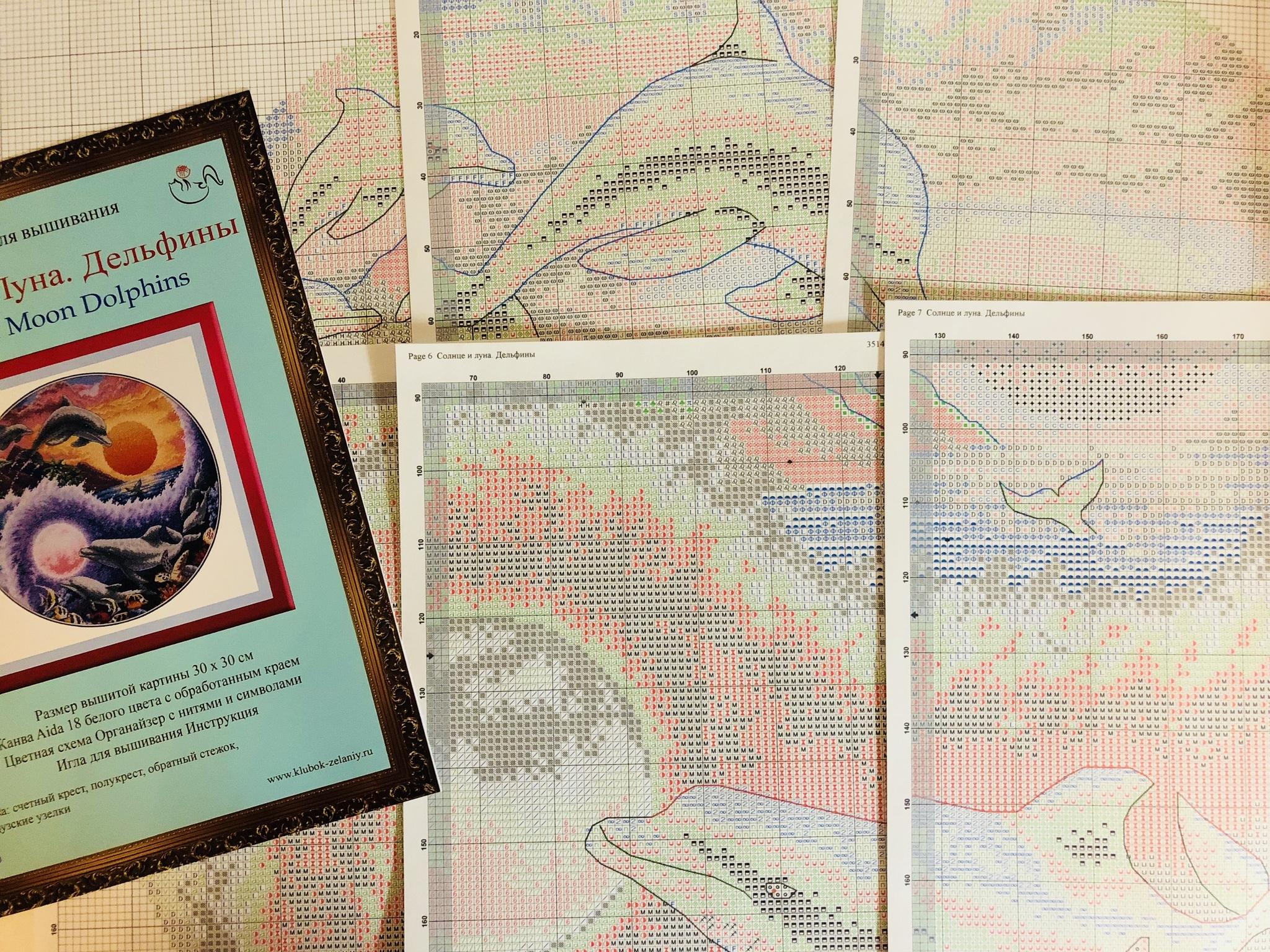 Набор для вышивания  Солнце и луна. Дельфины. Sun and Moon Dolphins. Арт. 35140