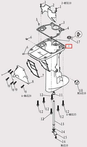 Корпус дейдвуда для лодочного мотора F9.8 Sea-PRO (11-5)