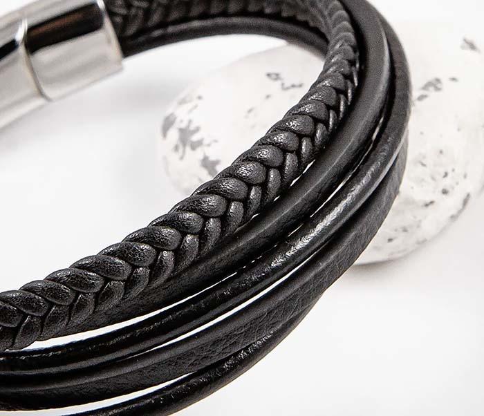 BM565-1 Браслет из плоских и плетеных кожаных шнуров фото 04