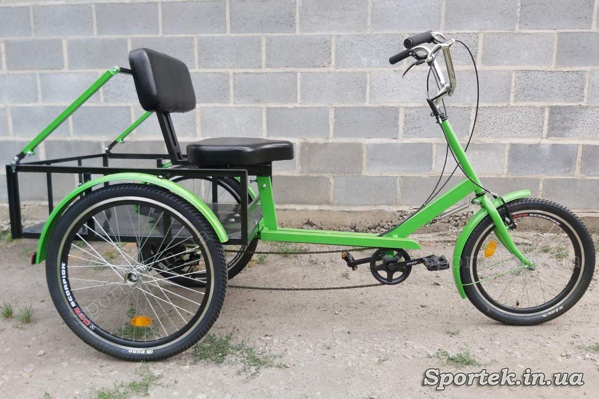 Грузовой трехколесный велосипед 'Атлет большой' (зеленый) с задними упорами под кресло для людей с большим весом