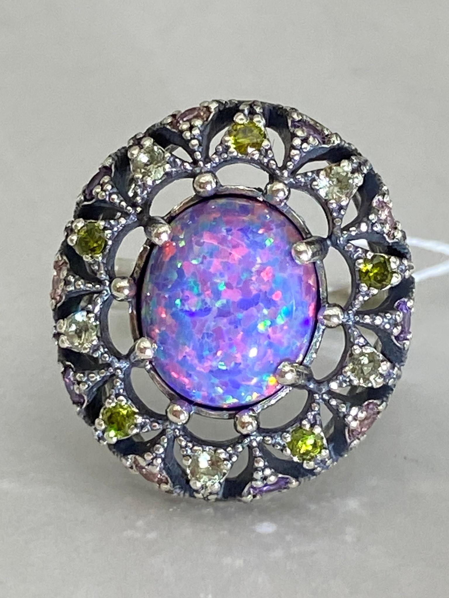 Бхарат-опал (кольцо из серебра)