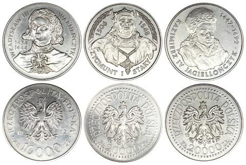 Набор из 3 монет Польские короли 1992-1994 год.  UNC