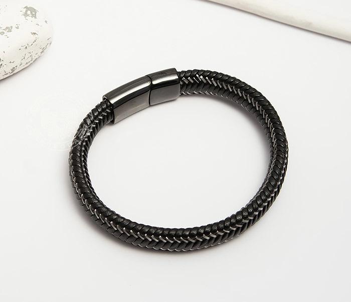 BM422 Мужской браслет из кожи со стальной проволокой (20 см) фото 02