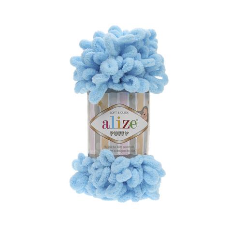 Купить Пряжа Alize Puffy Код цвета 287 Ярко-голубой | Интернет-магазин пряжи «Пряха»