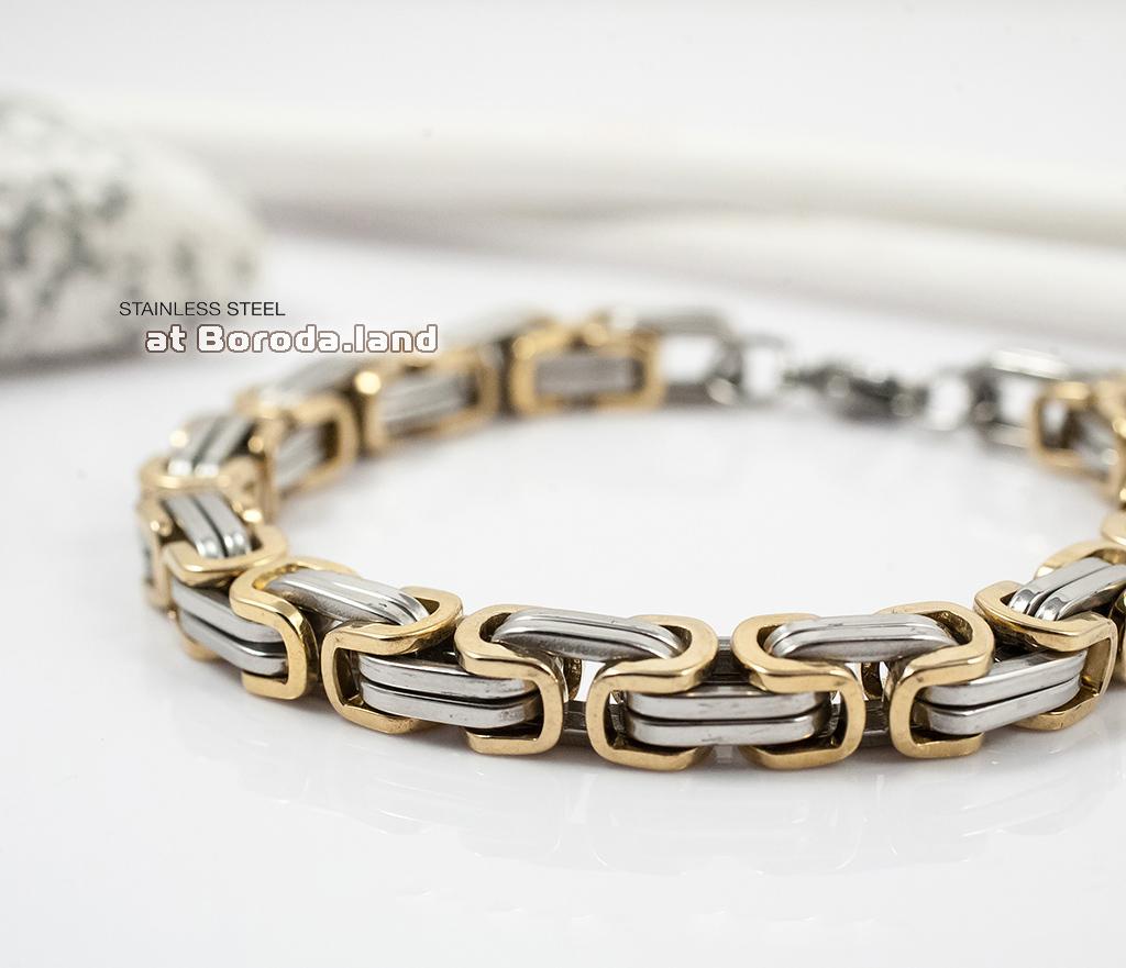 BM298 Стильный стальной браслет с золотыми и серебристыми звеньями (22 см) фото 03