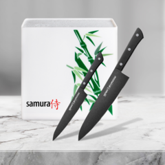 Набор из 2 кухонных стальных ножей Samura Shadow и подставки KBH-101BW