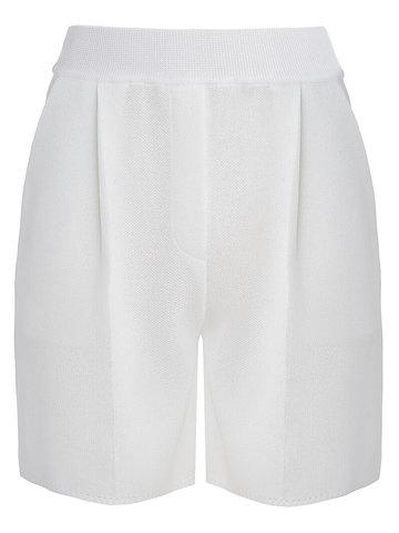 Женские шорты белого цвета из вискозы - фото 1