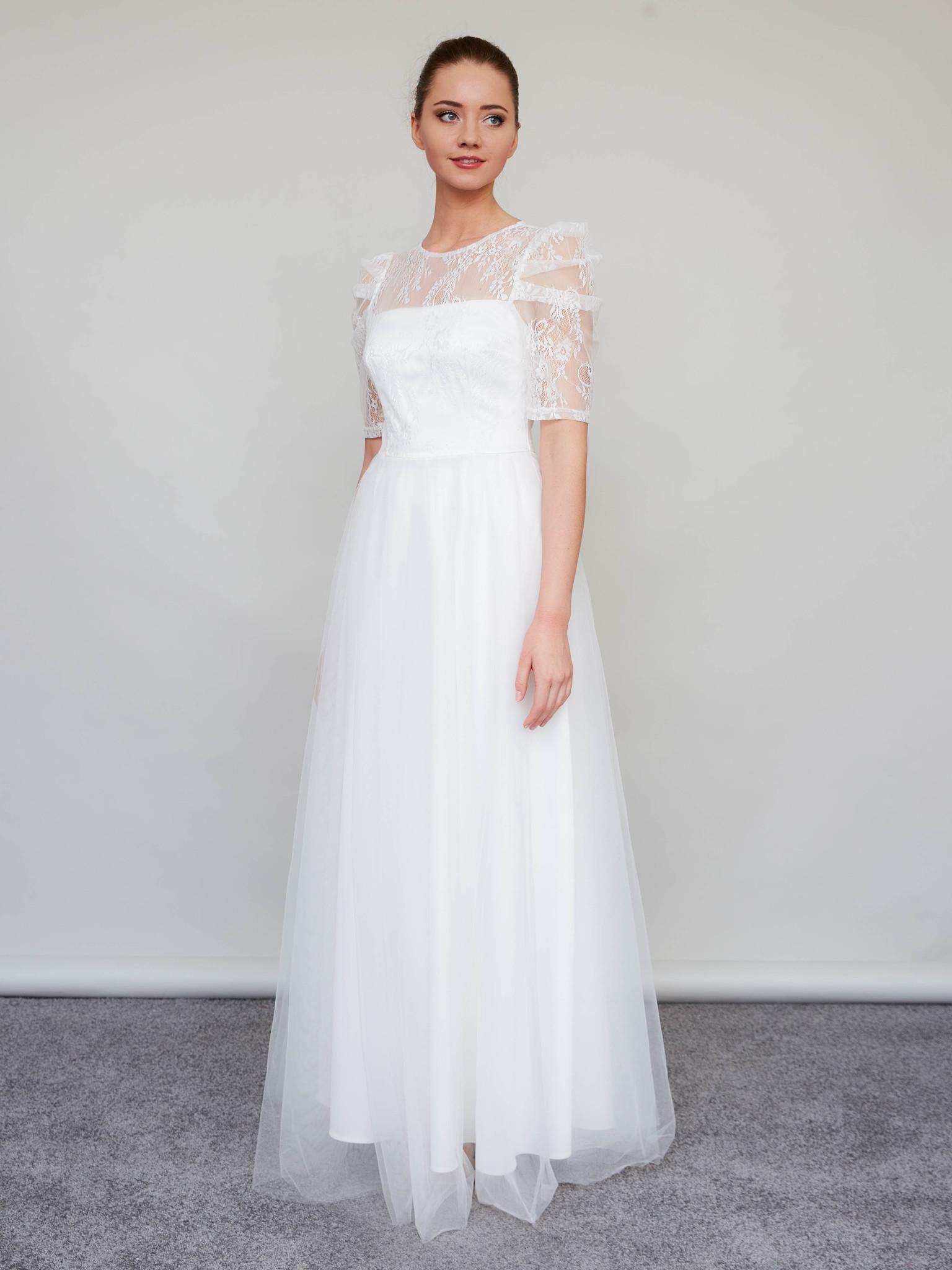 Свадебное платье со съемными пышными рукавами макси (молочный)