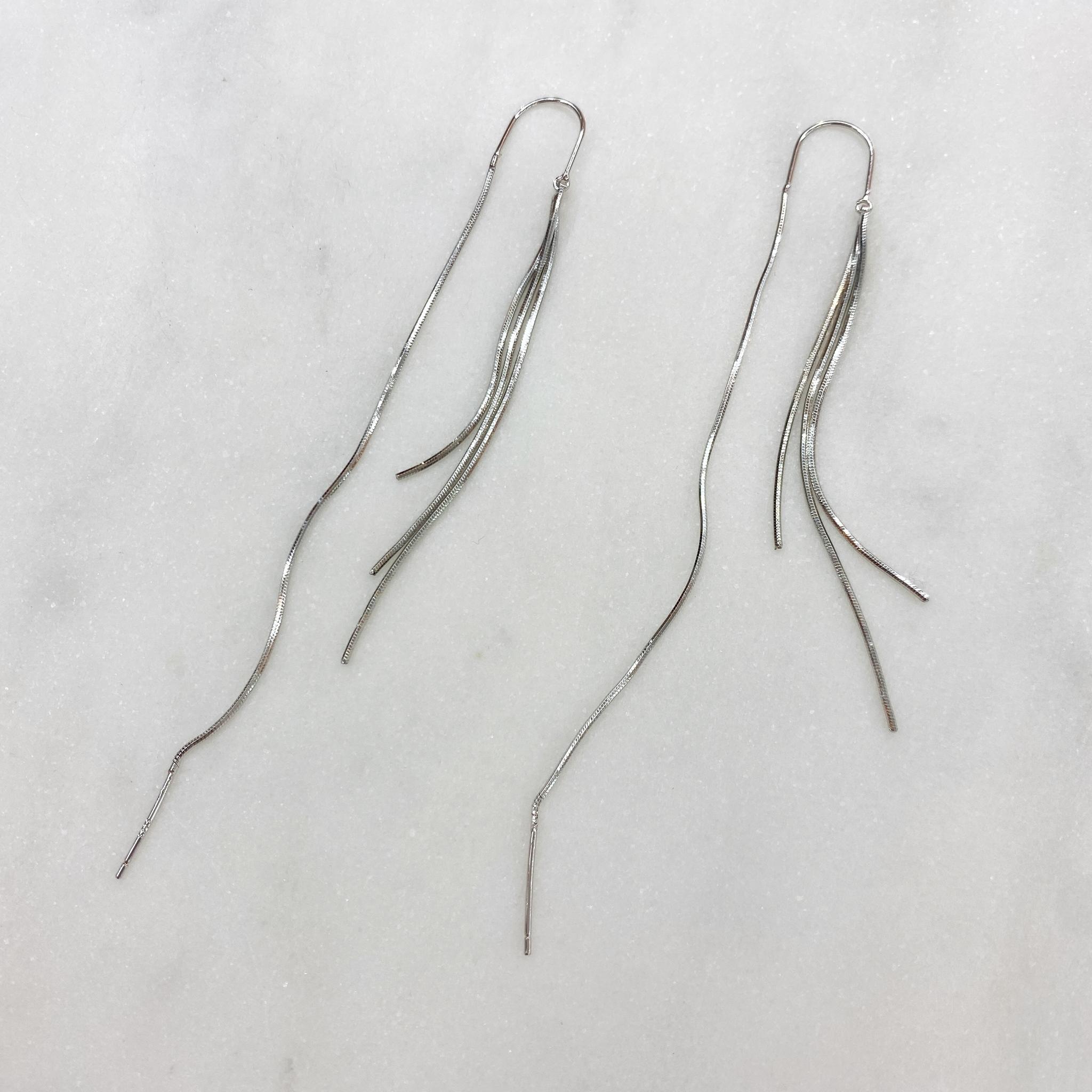 Серьги-протяжки из тонких цепочек (серебристый)