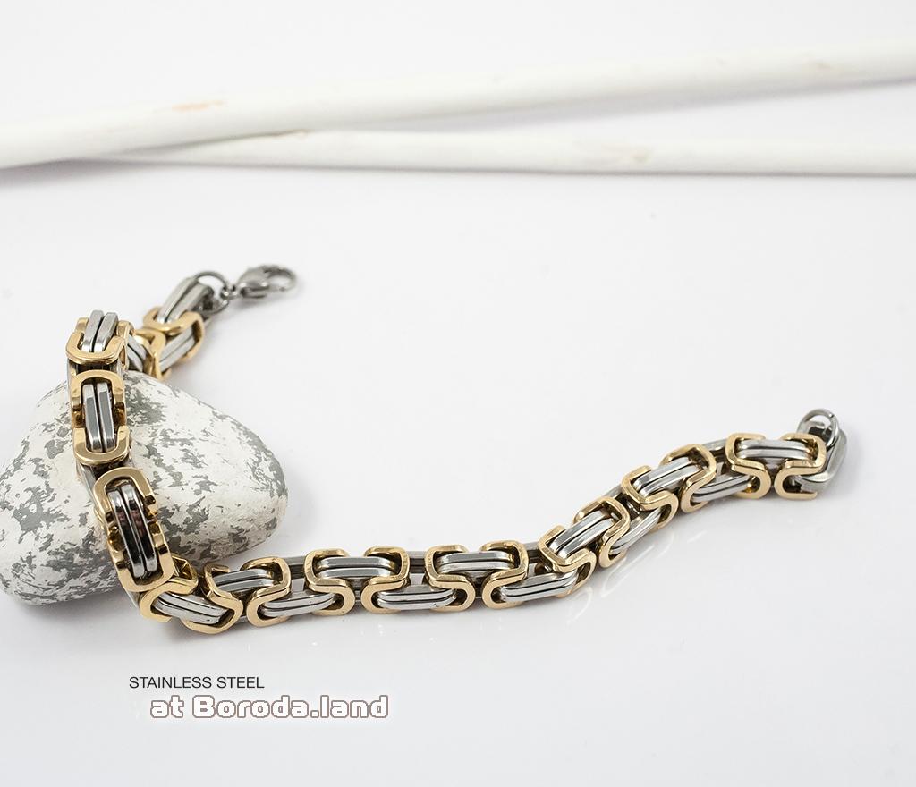BM298 Стильный стальной браслет с золотыми и серебристыми звеньями (22 см) фото 04