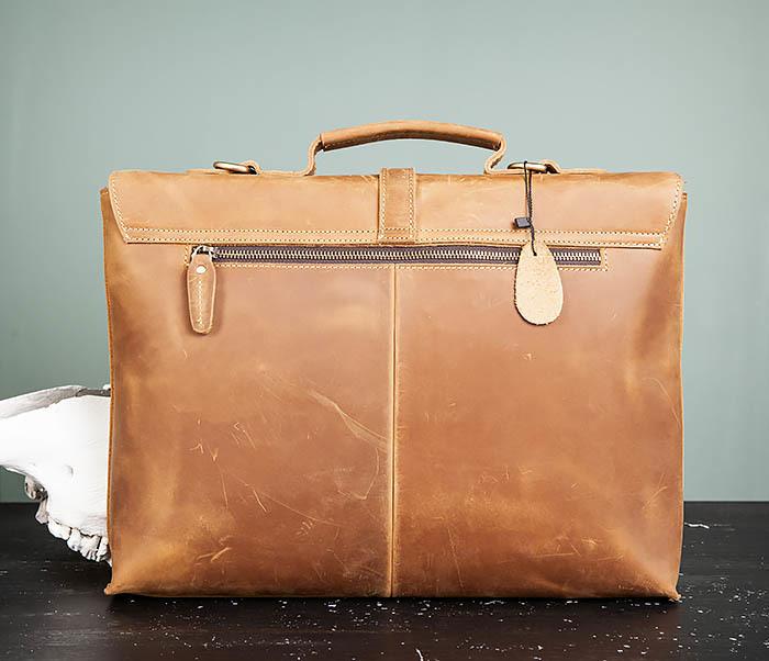 BAG493-2 Мужская сумка из натуральной кожи «Crazy Horse» c ремнем фото 07