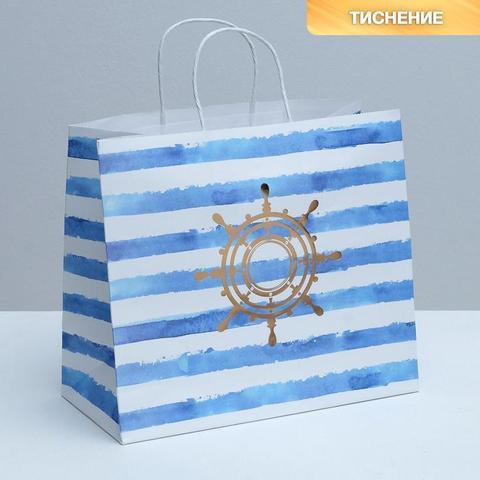 Купить Пакет подарочный крафтовый «Якорь», 32×28×15 см в Магазине тельняшек