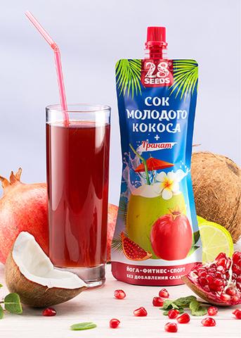 Сок молодого кокоса + Гранат, без сахара, 250 г