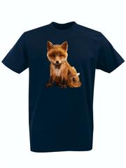 Футболка с принтом Лиса (Лисенок, fox) темно-синяя 009