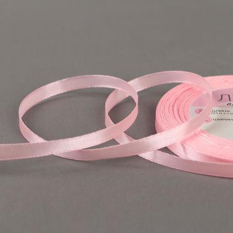 Лента атласная, 6 мм*23±1 м, цвет розовый №04