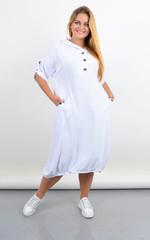Алегра. Літнє спортивне плаття з капюшоном великого розміру. Білий.