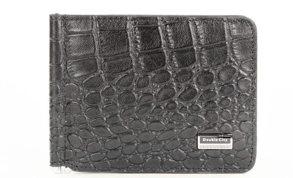 Мужской чёрный зажим для денег из натуральной кожи под крокодила с отделениями для карт и карманом монетницей для мелочи на молнии 063-DC9-11I