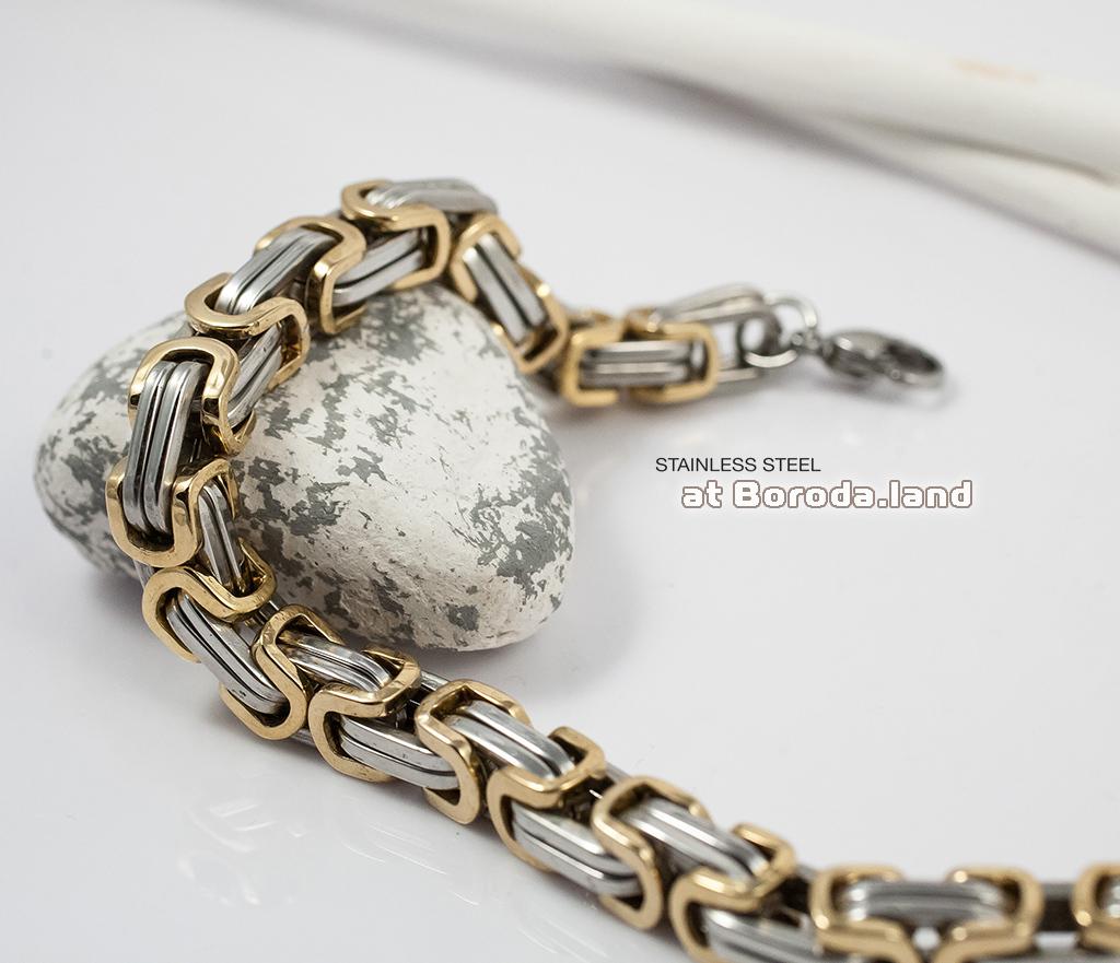 BM298 Стильный стальной браслет с золотыми и серебристыми звеньями (22 см) фото 05