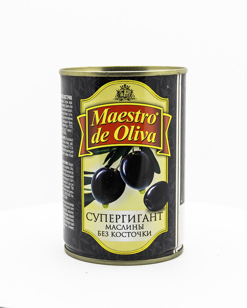 Маслины Maestro de Oliva Супергигант Без Косточки 410 гр.