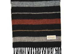 Шерстяной шарф черный полосатый 30601
