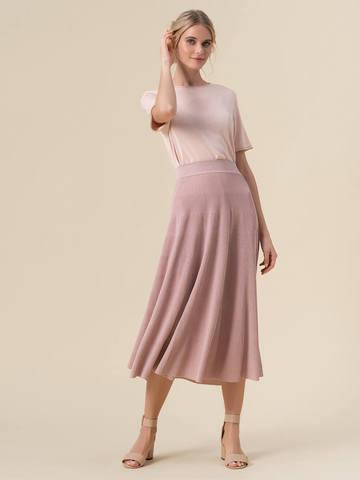 Женская юбка-миди светло-розового цвета с поясом на резинке - фото 2