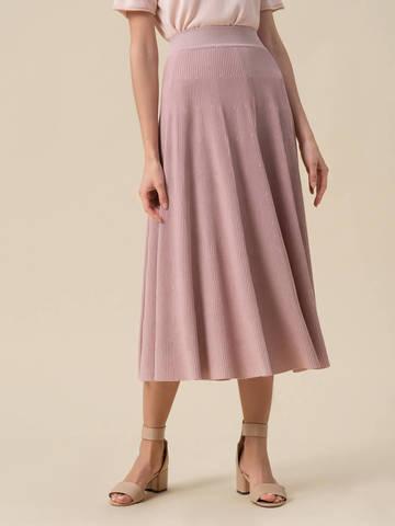 Женская юбка-миди светло-розового цвета с поясом на резинке - фото 4