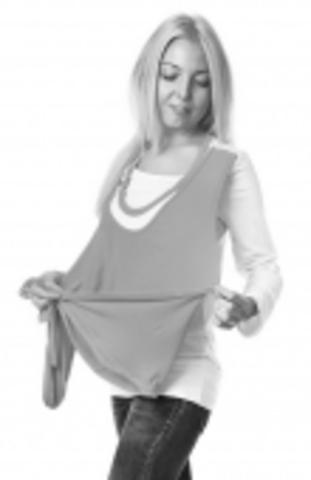 Блуза Evolution с накидкой, т. сер/голуб., кор.рук.