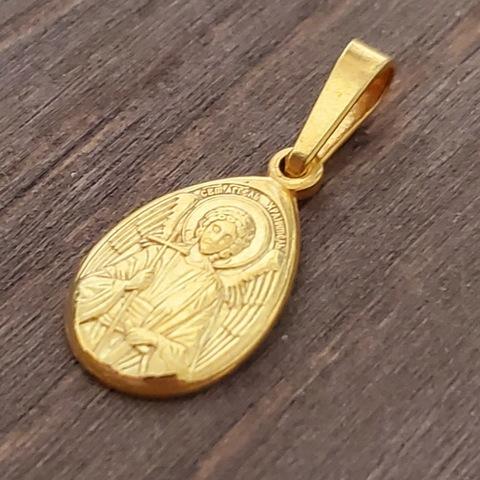 Нательная именная икона святой Ангел Хранитель с позолотой кулон медальон с молитвой